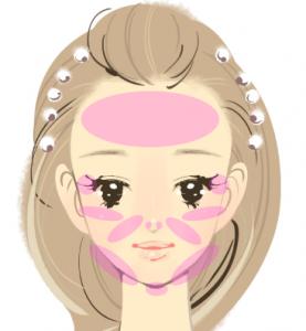 BNLS小顔注射の治療可能な部位の説明画像です。女の子の顔の上にピンク色で示されてます。額・コメカミ・ホホ骨の上・ホホ・アゴ下が治療可能部位になります。