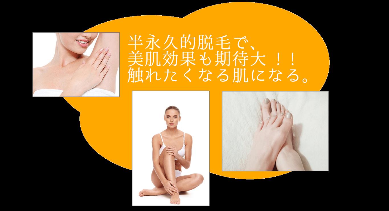 オレンジ色の雲形の画像の上に白抜きで「半永久的脱毛で、美肌効果も期待大。触れたくなる肌になる。」と書かれてます。左上には女性が脇に手を当てているバストアップの画像。中心下には右飛差を立てて座っている白いビキニとパンツをはいた女性の画像。右下には女性の素足の画像があります。