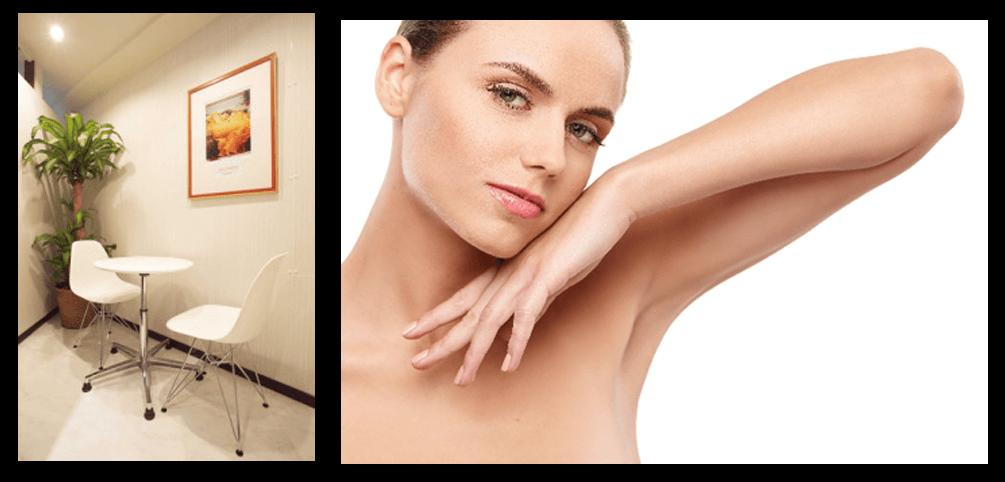 横長の長方形のスペースに2枚の画像が配置されてます。左側は縦長の画像で白い丸テーブルの白い椅子が二つ置かれたカウンセリング室のものです。奥には観葉植物があり壁にはLeightonのFlamingJuneが飾られています。右側は横長の画像で白人の女性が頬に左手を付けひじを上げている裸図です。
