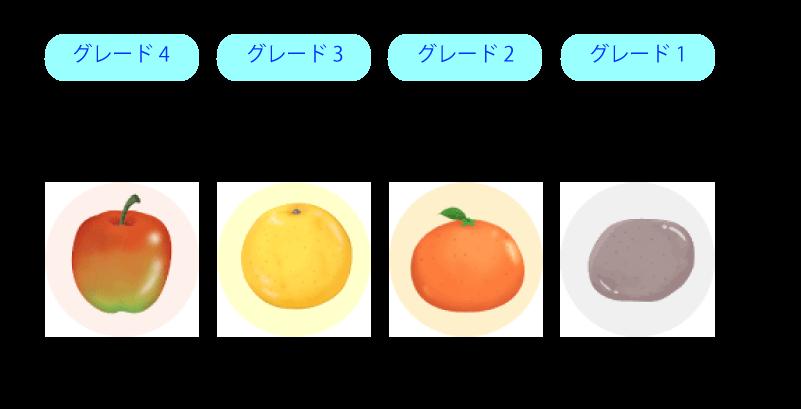 陰茎硬度のセルフチェックのための4つの絵が描かれてます。絵はそれぞれ固さのイメージとなっていて一番左はグレード4のりんごでその下に陰茎は完全に硬く硬直していると書かれています。その右隣はグレード3のグレープフルーツでその下に陰茎は挿入には十分硬いが完全には硬くないと書かれています。さらに右隣はグレード2のみかんで陰茎は硬いが挿入に十分なほどでないと書かれています。その右隣は一番左になりますが、グレード1のこんにゃくで陰茎は大きくなるが硬くはないと書かれています。
