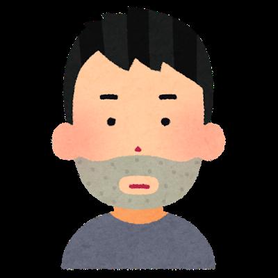 ひげのある男子の顔の画像です。