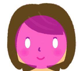 脱毛の照射範囲を説明するための顔の図です。顔全体がマゼンダ色でマーキングされていて両目の部分だけ白く抜かれていて照射できないことを表しています。
