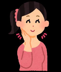 小顔効果ですっきりしたフェイスラインの女子のイラストです。