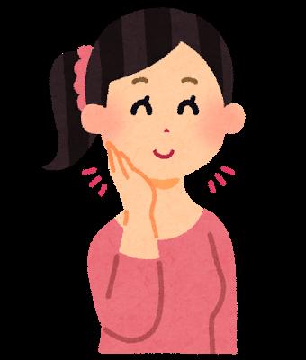 頬から顎にかけてすっきりと小顔になった女性のイラストです。