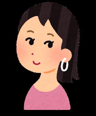ピアスの穴あけをしてピアスを付けている女性の左側のイラストです。