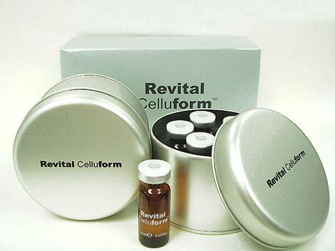リバイタルセルフォームの画像です。銀色の丸い缶に入っています。バイアルは茶色で白文字で「RevitalCellForm」と書かかれてます。