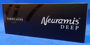 ヒアルロン酸のメーカーの韓国Medytox社製NewramisDEEPの外箱の画像です。黒が基調で白色で文字が入ってます。