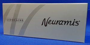 ヒアルロン酸のメーカーの韓国Medytox社製NewramisLIDCAINEの外箱の画像です。シルバーが基調で黒色で文字が入ってます。