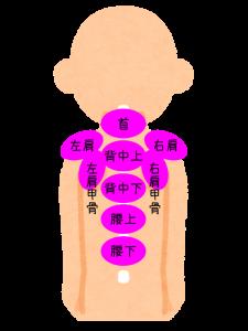 肩こり注射の部位・コンプリートセット9パーツの位置を図で説明してます。